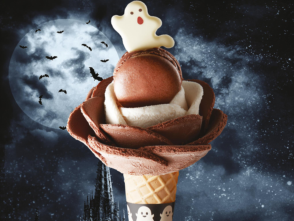Halloween Foods 2018, Ice Cream Flower With Ghost, Amorino